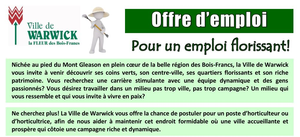offre d 39 emploi la ville de warwick horticulteur ou horticultrice warwick. Black Bedroom Furniture Sets. Home Design Ideas